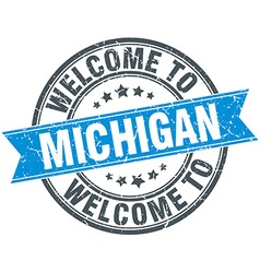 Welcome to michigan blue round vintage stamp vector