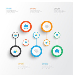 Air flat icons set collection of storm vector
