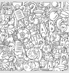 back of school objects on background drawing by vector image vector image
