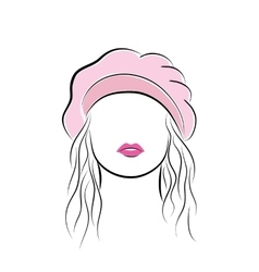 Beautiful young woman with her hair in a pink vector