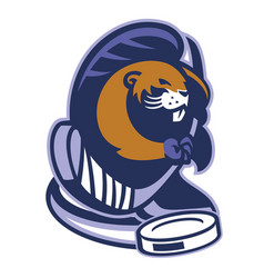Beaver mascot of ice hockey vector