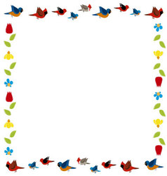 bird and flowers frame vector image