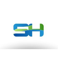 blue green sh s h alphabet letter logo vector image vector image