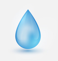 Blue shiny single water drop isolated vector