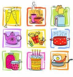 Cartoon food icons vector