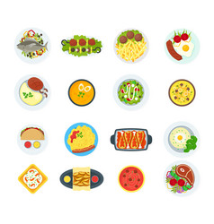 cartoon home cooking healthy foods dishes menu set vector image vector image