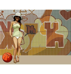 cartoon woman in very short dress on a background vector image