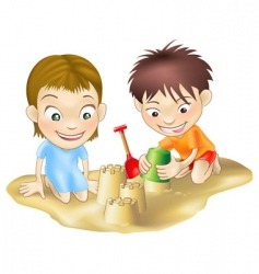 Children in the sand vector