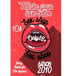 Color vintage sex shop banner vector image