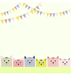 Colorful flags with cats pastel background vector