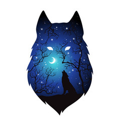 Double exposure silhouette of wolf in the night vector