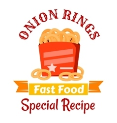 Fast food snacks icon with fried onion rings vector