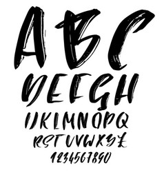 hand drawn dry brush font modern brush lettering vector image vector image