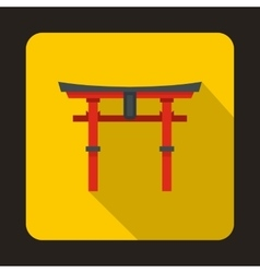 Japan gate icon in flat style vector