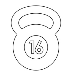 Kettlebell 16 kg icon outline style vector