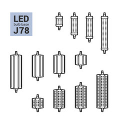 led light j78 bulbs outline icon set vector image