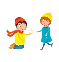 Little boy flower and girl cute children waving vector