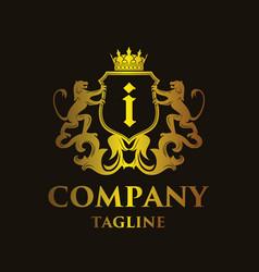 luxury letter i logo vector image