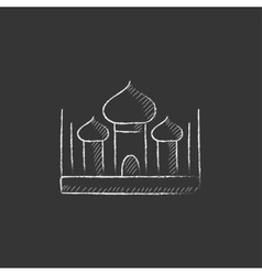 Mosque drawn in chalk icon vector