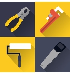 paint brush wrench saw pliers tool icon vector image vector image
