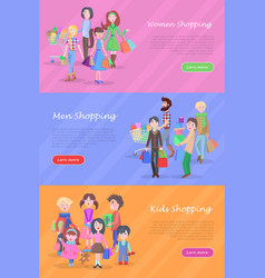 People shopping web banners set in flat design vector