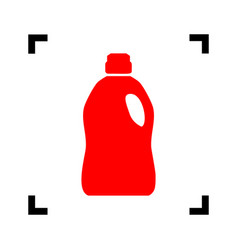 Plastic bottle for cleaning red icon vector