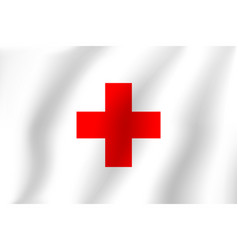Red cross flag realistic flag national symbol vector