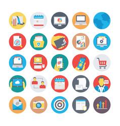 Seo and marketing flat circular icons 1 vector