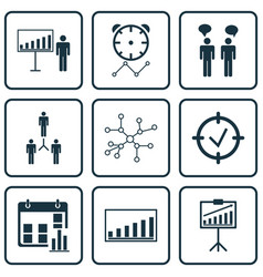 Set of 9 authority icons includes company vector