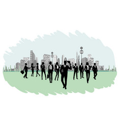 silhouettes of businesspeople vector image