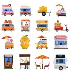 Street food icons set vector