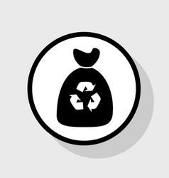 Trash bag icon flat black icon in white vector