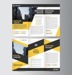 Trifold leaflet brochure flyer template design set vector