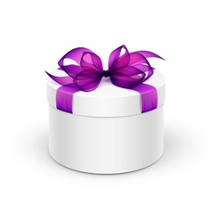 White Round Gift Box with Purple Ribbon and Bow vector image