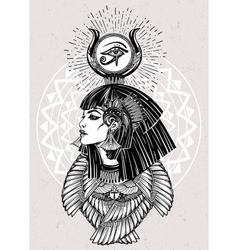 Portrait of a beautiful egyptian goddess vector image