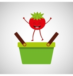 Green basket market and fresh tomato vector