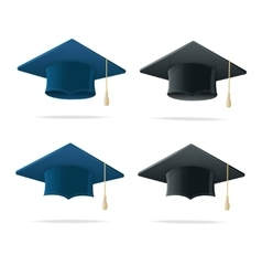 Student hat blue and black set vector
