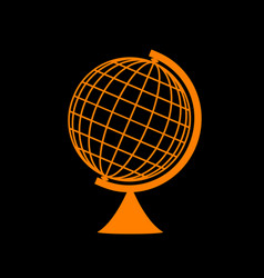 Earth globe sign orange icon on black background vector