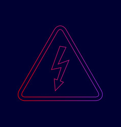 High voltage danger sign  line icon with vector