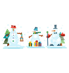Winter holidays snowman cheerful character in cold vector