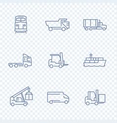 Transportation icons forklift cargo ship train vector