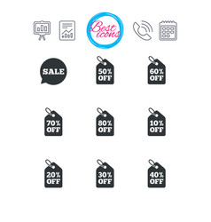 Sale discounts icons special offer signs vector