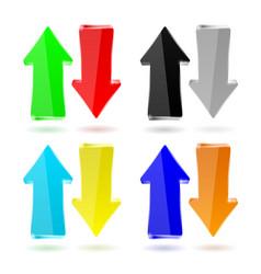 shiny arrow colored set vector image