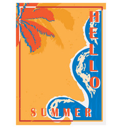 retro poster with palm trees sea and beach vector image