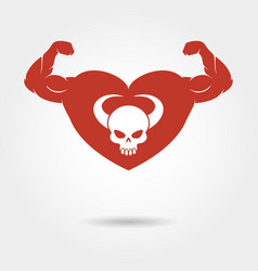 Skull in heart with male biceps vector