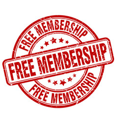 Free membership red grunge stamp vector