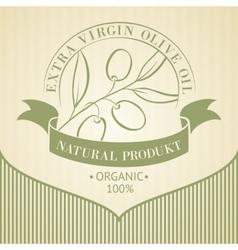Vintage olive oil label vector image