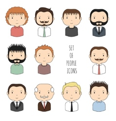 Set of colorful male faces icons funny cartoon vector