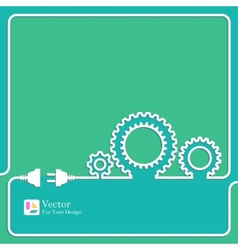Gears symbol outline vector image
