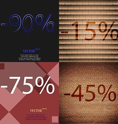 15 75 45 icon set of percent discount on abstract vector